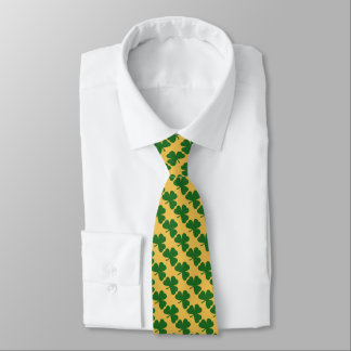Yellow And Green Clover Pattern St. Patrick's Day Tie