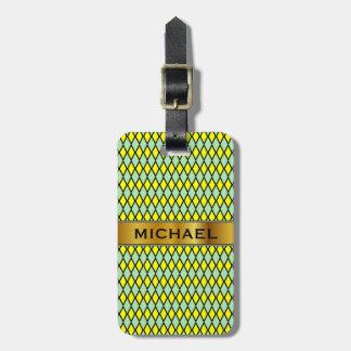 Yellow and Green Diamond Shape Pattern + Name Bag Tag