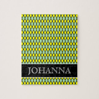 Yellow and Green Diamond Shape Pattern + Name Jigsaw Puzzle