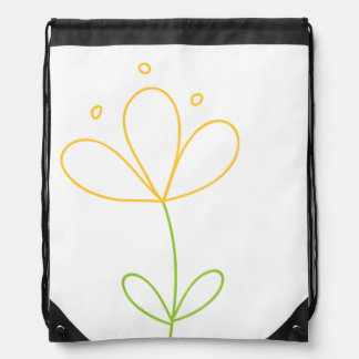 Yellow and Green Doodle Flower on White Cinch Bags