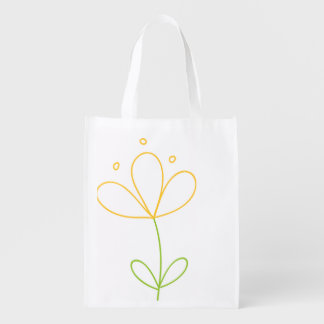 Yellow and Green Doodle Flower on White Reusable Grocery Bag