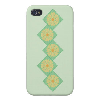 Yellow and Green Floral Border Case For iPhone 4