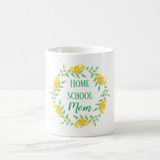Yellow and green Floral Home school Mom Wreath Coffee Mug