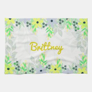 Yellow and Green Flower Print Tea Towel