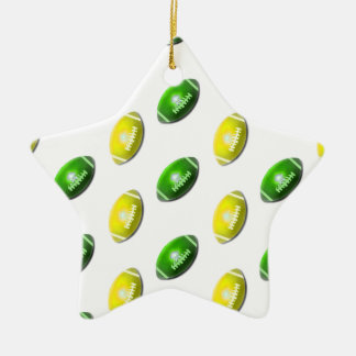 Yellow and Green Football Pattern Christmas Ornament
