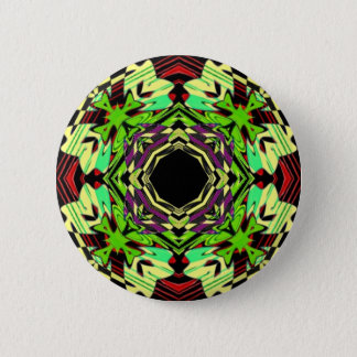 Yellow and Green geometric pattern 6 Cm Round Badge