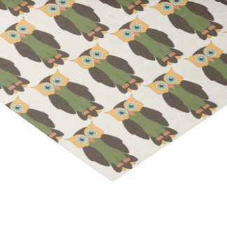 Yellow and Green Owls Tissue Paper