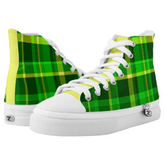 Yellow and Green Plaid High Top Sneakers