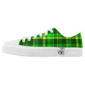 Yellow and Green Plaid Low Top Sneakers