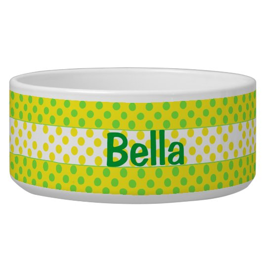 Yellow and Green Polka Dot Custom Ceramic Dog Bowl