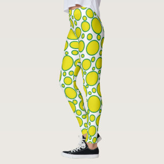 Yellow and Green Polka Dots Leggings