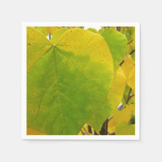 Yellow and Green Redbud Leaves Autumn Nature Disposable Napkins