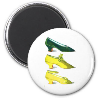 Yellow and Green Shoes 6 Cm Round Magnet