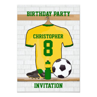 Yellow and Green Soccer Jersey Birthday Party Card
