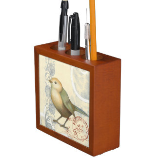 Yellow and Green Sparrow on Vintage Background Desk Organiser