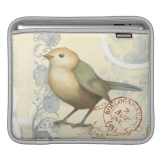 Yellow and Green Sparrow on Vintage Background iPad Sleeve