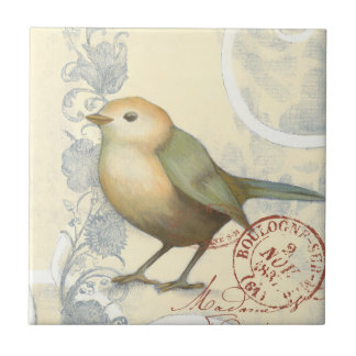 Yellow and Green Sparrow on Vintage Background Small Square Tile