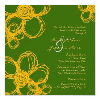 Yellow and Green Wild Flowers Wedding Invitation