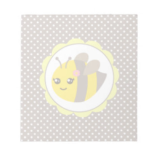 Yellow and Grey Baby Bee Notepad