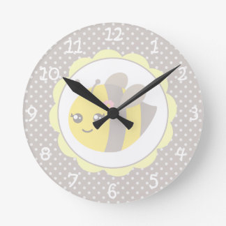 Yellow and Grey Baby Bee Round Clock