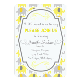Yellow and Grey Baby Shower Invitation