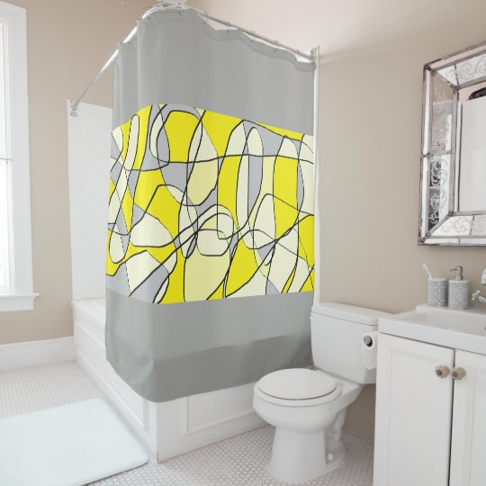 Yellow and Grey Bathroom Shower Curtain