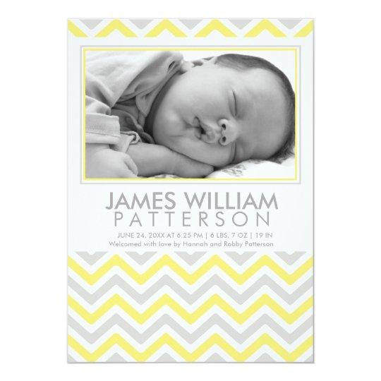Yellow and Grey Chevron Baby Birth Announcement