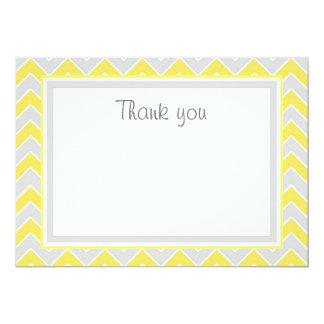 Yellow and Grey Chevron Flat Thank You Card 13 Cm X 18 Cm Invitation Card