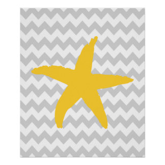 Yellow and Grey Chevron Nautical Sea Star Poster