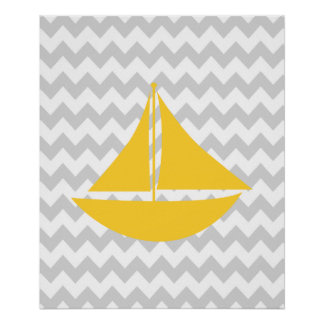 Yellow and Grey Chevron Nautical Ship Poster