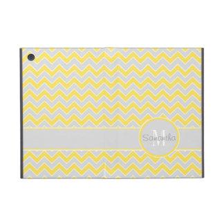Yellow and Grey Chevron Pattern Custom Monogram iPad Mini Case
