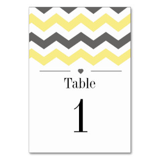 Yellow And Grey Chevron Pattern Table Numbers