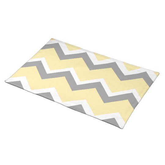 Yellow and Grey Chevron Placemats