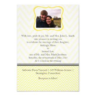 Yellow and Grey Chevron Wedding Invitation