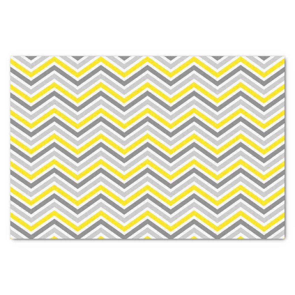 Yellow and Grey Chevron Zigzag Pattern Tissue Paper