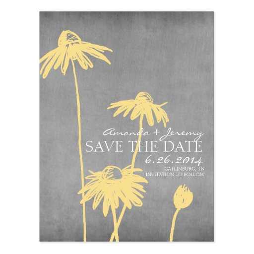 Yellow and Grey Chic Flower Wedding Save the Date Postcard