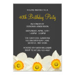 Yellow and Grey Daffodil Flowers Birthday Party 13 Cm X 18 Cm Invitation Card