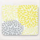 Yellow and grey dahlia desk office accessory mouse mat