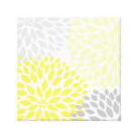 Yellow and Grey Dahlia Square Wall Art Stretched Canvas Prints