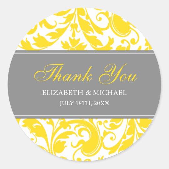 Yellow and Grey Damask Swirls Wedding Thank You