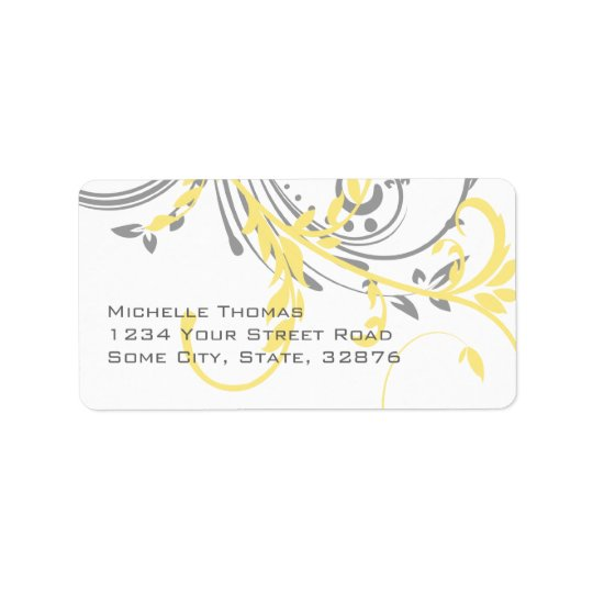 Yellow and Grey Double Floral Return Address Address Label