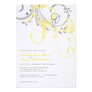 Yellow and Grey Double Floral Wedding Invitation