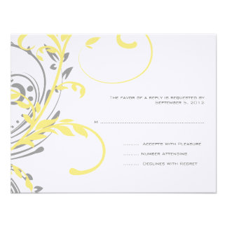 Yellow and Grey Double Floral Wedding RSVP Invite