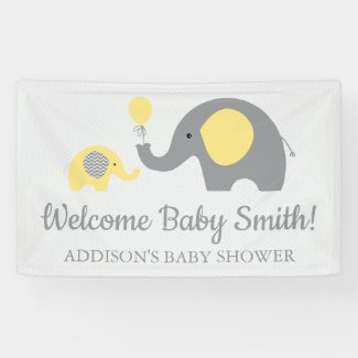 Yellow and Grey Elephant Baby Shower Banner Poster
