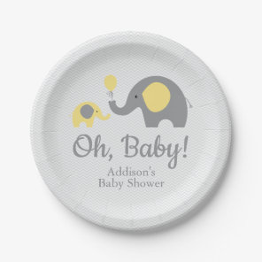 Yellow and Grey Elephant Baby Shower Paper Plates