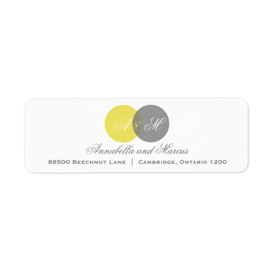 Yellow and Grey Entwined Monograms Address Label
