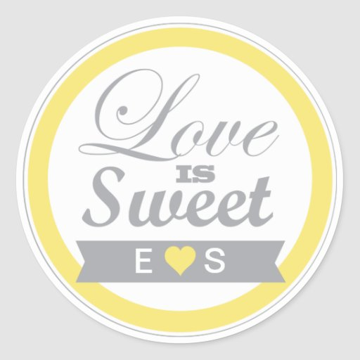 Yellow and Grey  Favor Stickers