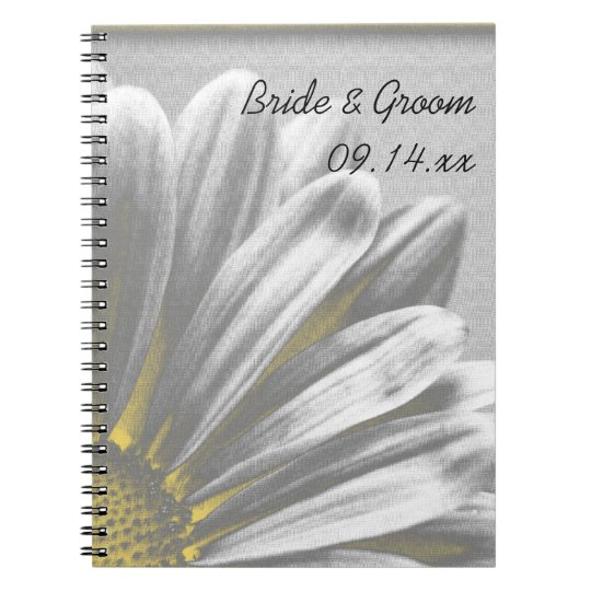 Yellow and Grey Floral Highlights Wedding Spiral Notebooks