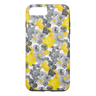 Yellow and grey floral phone case