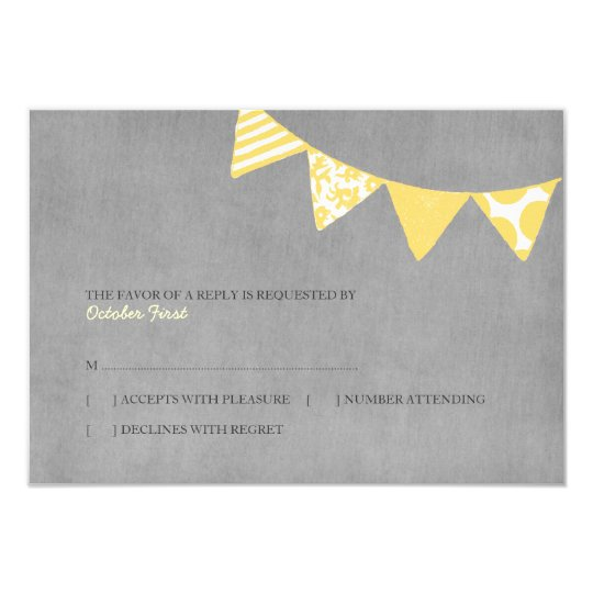 Yellow and Grey Fun Flags Wedding rsvp Card